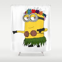 gore Shower Curtains featuring Hawaii Minion  by The Big Duo