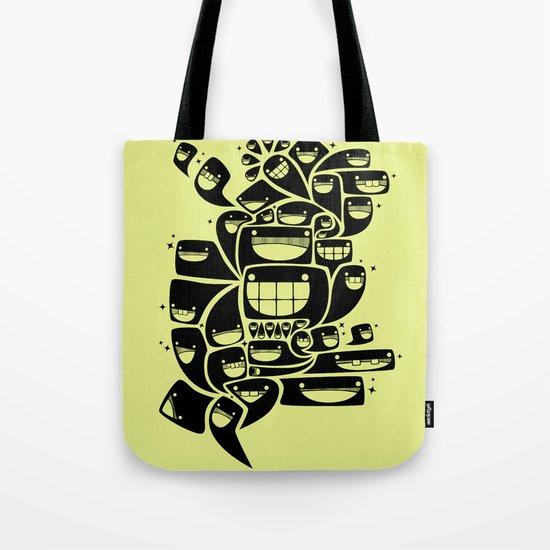 Happy Squiggles - 1-Bit Oddity - Black Version Tote Bag