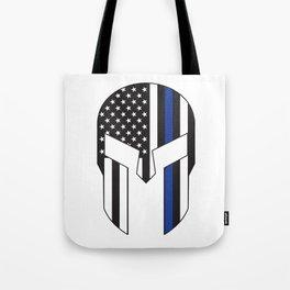 Gladiator Helmet American Flag Thin Blue Line Tote Bag
