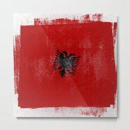 Albanian Distressed Halftone Denim Flag Metal Print