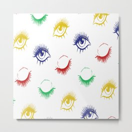 Lashes Pattern Eyebrows Glamour Beauty Metal Print