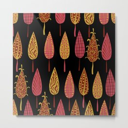 Autumn leaves on a black background . Metal Print