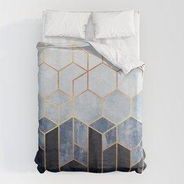 Soft Blue Hexagons Bettbezug