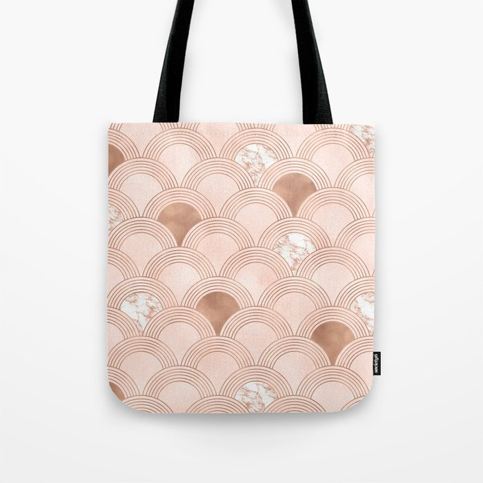 Elegant marble cotton candy fans in rose gold Tote Bag