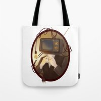 tv Tote Bags featuring TELEVISION by FISHNONES