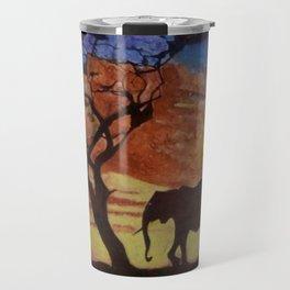 sunset on elephant family moving Travel Mug