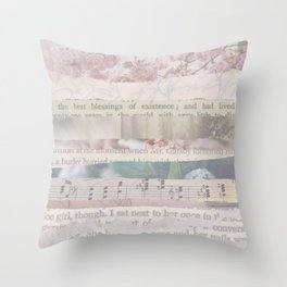 Book Pages Collage Throw Pillow