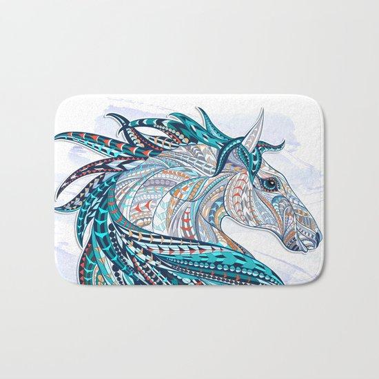 Blue Ethnic Horse Bath Mat
