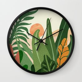 Desert Garden Sunset Wall Clock