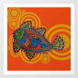 Madhubani - Orange Fish 2 Art Print