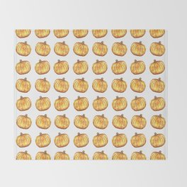 Halloween Pumpkin Watercolor Pattern Throw Blanket