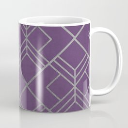 Geometrical faux silver violet abstract motif Coffee Mug