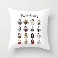 twin peaks Throw Pillows featuring twin peaks by Bunny Miele