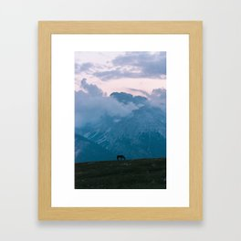 Mountain Sunset Horse - Landscape Wildlife Photography Framed Art Print