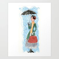 mary poppins Art Prints featuring Mary Poppins by Mai S. Kemble