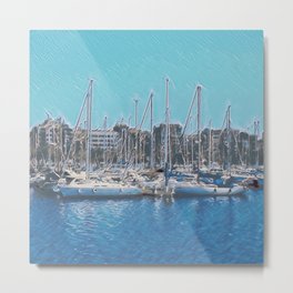 Sailboats In The Harbour IV Metal Print