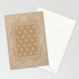 Bandana - Southwestern - Paisley - Latte  Stationery Cards