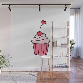 Heart cupcake Wall Mural