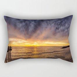 Redondo Beach Stormy Sunset Rectangular Pillow