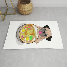 Ramen Noodles Pug Dog Lover Kawaii Japanese Anime Gift T-Shirt Rug