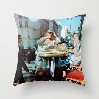 arsenal Throw Pillows featuring Cafe Arsenal, Paris (Double Exposure) by istillshootfilm
