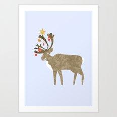 Holiday Reindeer Art Print