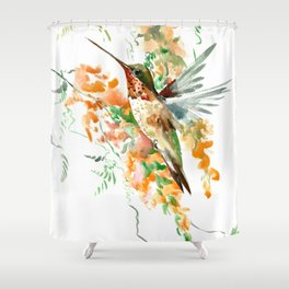 Hummingbird and orange flowers Shower Curtain