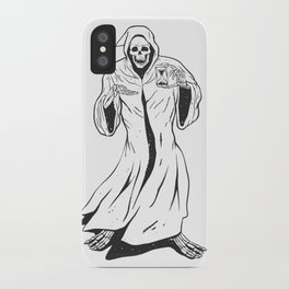Grim reaper holding an hourglass -  black and white iPhone Case