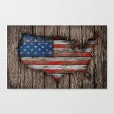 American Wood Flag Canvas Print