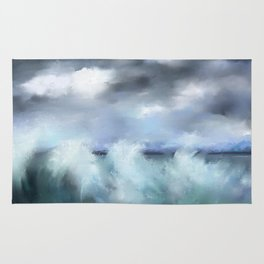 Turquoise Stormy Sea Rug