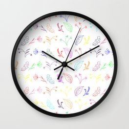 Crayon Flowers Drawing on White Wall Clock