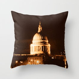 St Paul's Cathedral in Sepia & Dry Brush Effect Throw Pillow