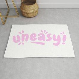 Uneasy - Pastel Pink Splash Typographic Rug