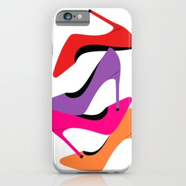 Colorful high heel shoes graphic illustration iPhone Case
