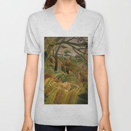 "Henri Rousseau ""Tiger in a Tropical Storm (Surprised!)"", 1891 Unisex V-Neck"