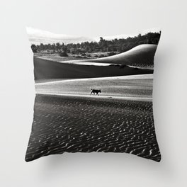 Walking alone through the desert of life Throw Pillow