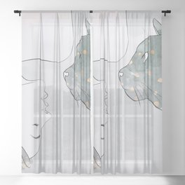 Woman Cat Kitten Drawing Pet Girl Art Dreamy Grey Gold Splatter Sheer Curtain
