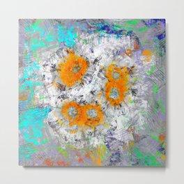 Abstract Floral Mixed Media Watercolor Ink Painting , orange & aqua Metal Print