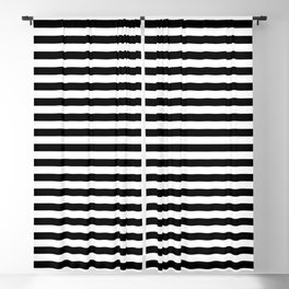 Midnight Black and White Horizontal Deck Chair Stripes Blackout Curtain