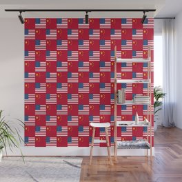 Mix of flag : usa and China Wall Mural
