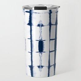 Shibori Stripes 4 Indigo Blue Travel Mug