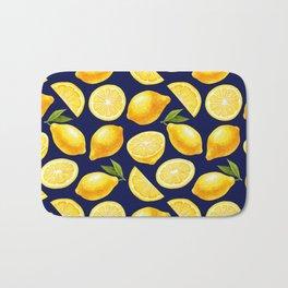 Lemon Pattern Yellow Navy Bath Mat