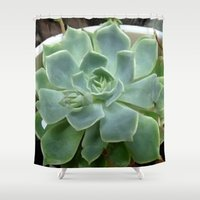 succulent Shower Curtains featuring Succulent by Sara Valor