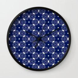 Shibori Stars (white and dark blue) Wall Clock