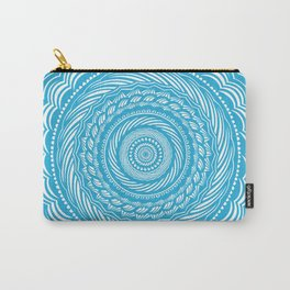 Spiral Mandala Detailed Eclectic Ethnic Spiritual Minimalism Minimalist Design (Blue) Carry-All Pouch
