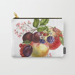 Composition of realistic fruits on a white background in vintage style. Apples, raspberries, plums, Carry-All Pouch