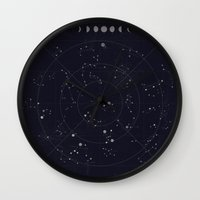 constellations Wall Clocks featuring Constellations by Seana Seeto
