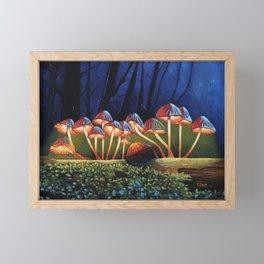Oil painting night light glowing mushrooms Framed Mini Art Print