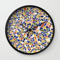geo Wall Clocks featuring geo by jennifer judd-mcgee