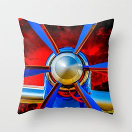 Blue propeller Throw Pillow